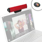 GOgroove SonaVERSE USB Clip On Soundbar Laptop Computer Speaker (Red) w/ USB Plug-n-Play Design for Netbooks, Notebooks, Ultrabooks, and Chromebooks w/ Mac OS , Windows PC , Linux & More - Incl. Mouse Pad