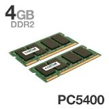 Crucial CT2CP25664AC667 200-Pin SODIMM DDR2 PC2-5300 CL=5 Unbuffered NON-ECC DDR2-667 1.8V 256Meg x 64 2GBx2 4GB Kit