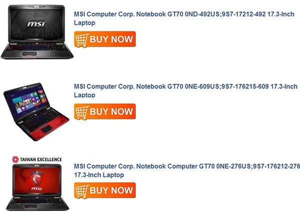 MSI Computer Corp. Notebook Computer GT70 0NE-276US;9S7-176212-276 17.3-Inch Laptop