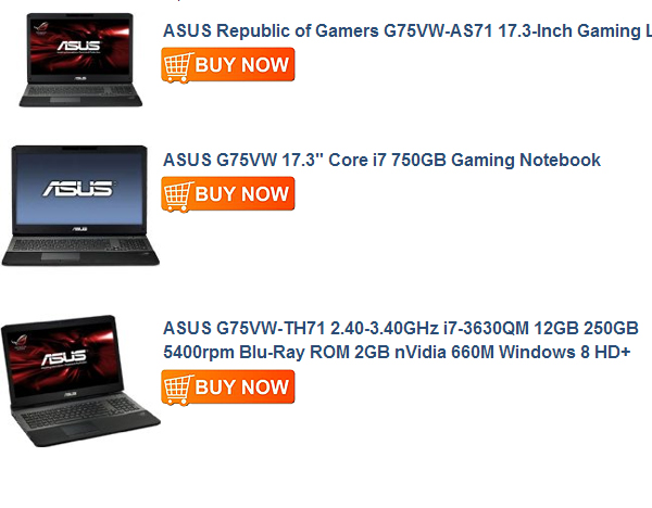 ASUS G75VW-TH71 2.40-3.40GHz i7-3630QM 12GB 250GB SSD + 1TB 5400rpm Blu-Ray ROM 2GB nVidia 660M Windows 8 HD+