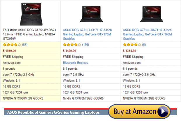 Three Asus laptops for professional gaming